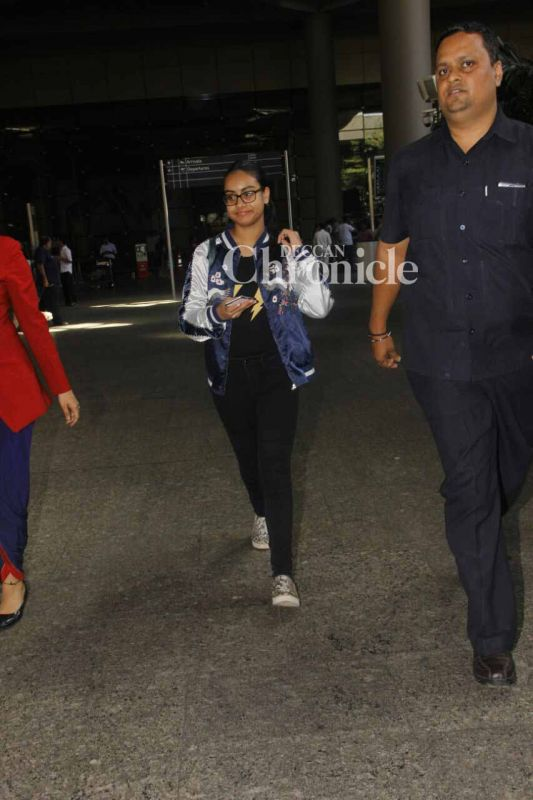 Her daughter Nysa was also spotted along with her.