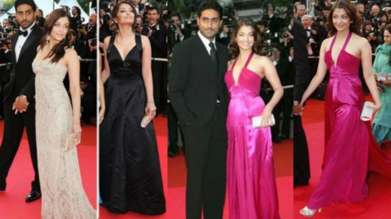 Cannes 2008: Abhishek Bachchan accompanied her again. She wore a gold gown on day one, followed by a black gown the next day and a fuchsia dress on the last day. Her outfits were designed by Elie Saab and Roberto Cavalli.