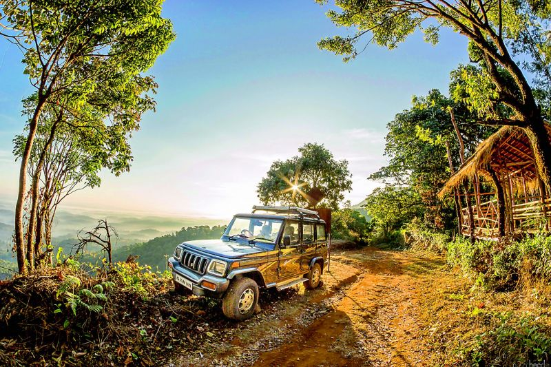 A jeep ride at Tadiandamol in Coorg.