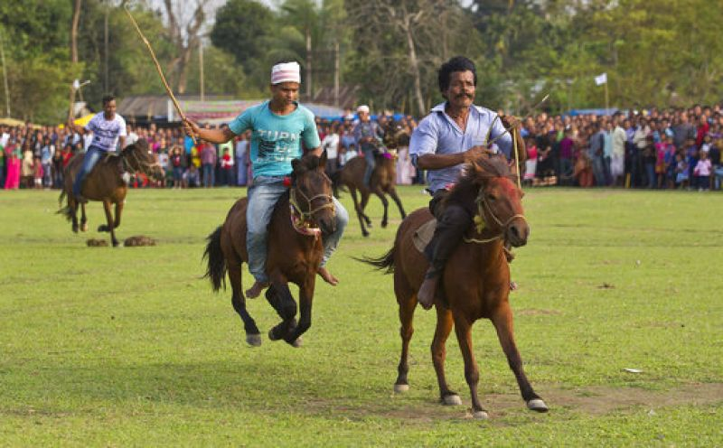 Villagers take part in a traditional horse racing during the Suwori Tribal festival in Boko.  (Photo: AP)