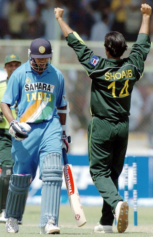 99 vs Pakistan: The disappointment is clear to see on Dravid's face, as Shoaib Akhtar dismisses him on 99. Dravid's contribution helped India post a big total yet again, as they edged out Pakistan by just five runs in the end. (Photo: AFP)