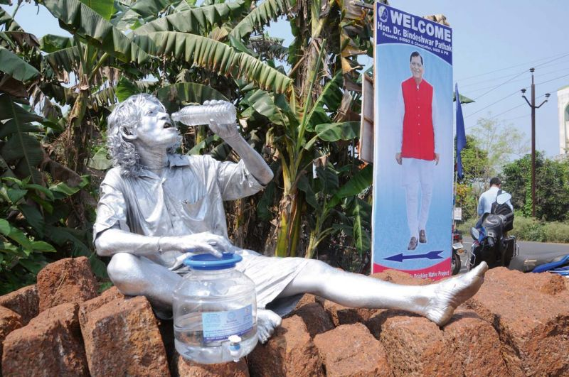 An artist showcases the success of Sulabh International's water purifying project at Mednipur
