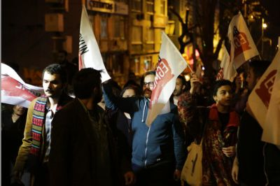 At least 1,000 protesters thronged Besiktas on the European side of the city while on the Asian side around 2,000 demonstrators marched through Kadikoy, another staunchly secular and anti-Erdogan neighbourhood.