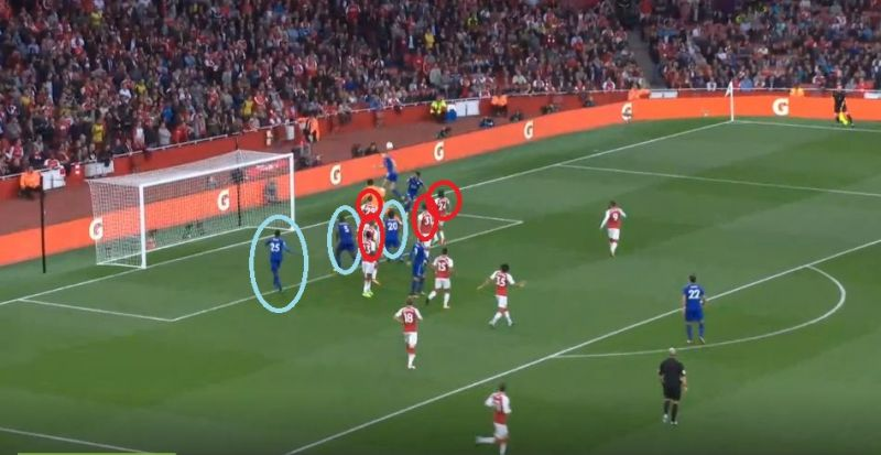 Despite being surrounded by four defenders, Shinji Okazaki, one of the shortest players in the Leicester XI, managed to nod the ball in. (Photo: Screengrab)