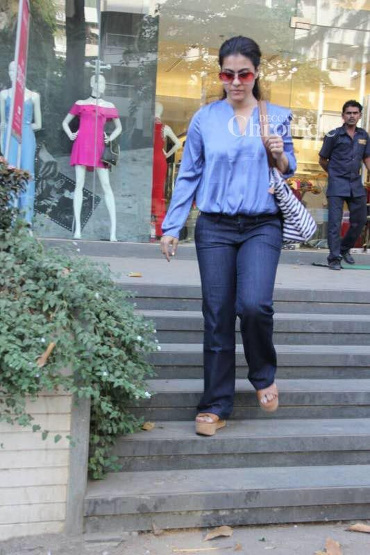 Kajol was snapped exiting a store.
