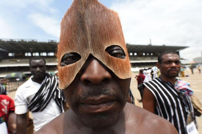 A man wearing a mask made from animal skin from Benue State in northcentral Nigeria performs during a carnival.