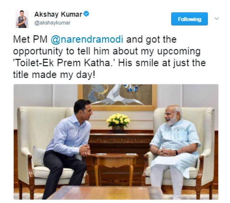 Akshay Kumar discusses 'Toilet: Ek Prem Katha' with PM Modi