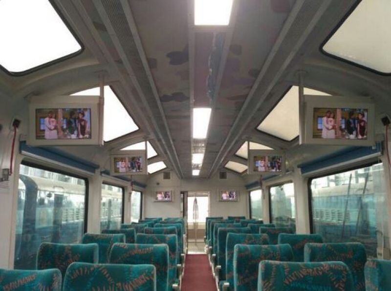 The specially-designed Vistadome air-conditioned coach, claimed to be a first-of-its-kind on Indian Railways, has large glass windows. (Photo: Suresh Prabhu/Twitter)