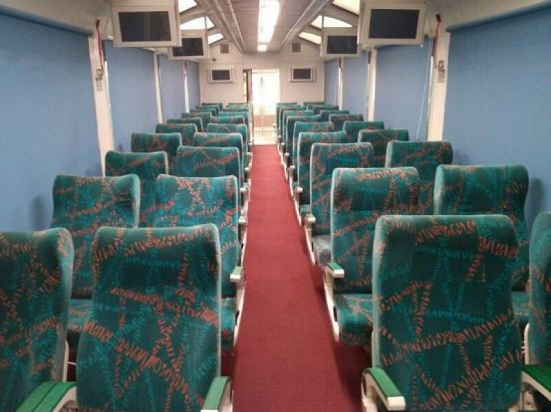 A unique feature of this INR 3.38 crore 40-seat coach is the double-wide reclining passenger seats that could be rotated 360 degrees for a better sightseeing experience. (Photo: Suresh Prabhu/Twitter)
