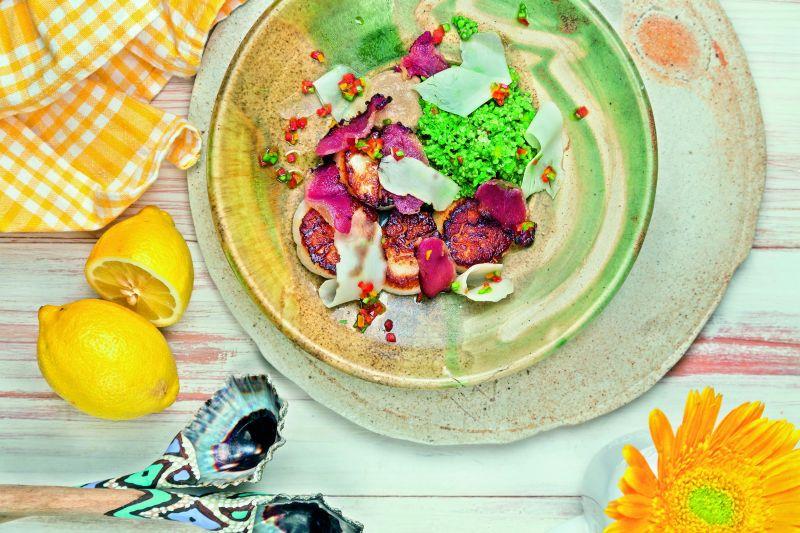 Seared Scallops with Artichoke pickle