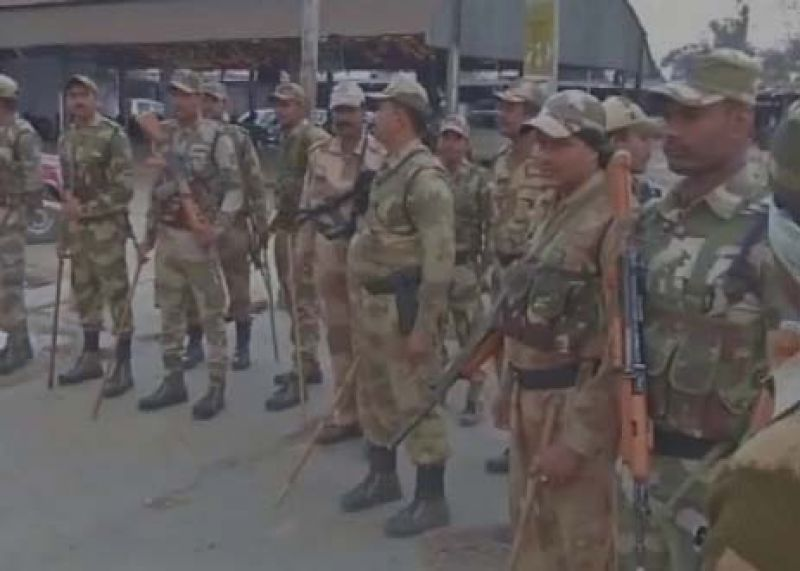 Security deployed outside counting centres in Moradabad.