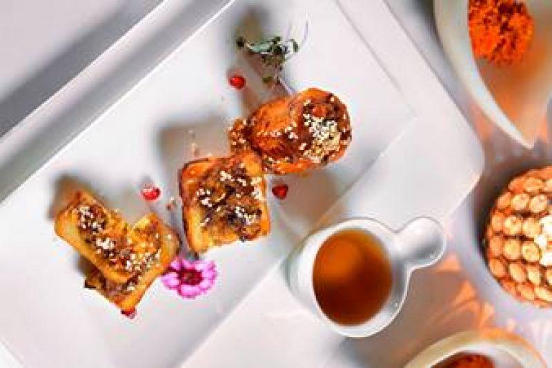 Bharwan Aloo, Maple Sesame Glaze