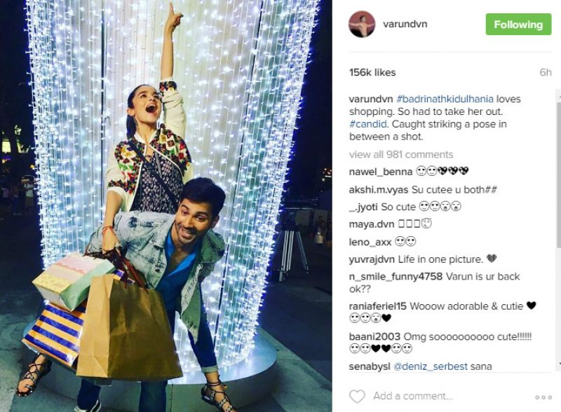 Varun Dhawan with Alia Bhatt on Badrinath Ki Dulhania sets