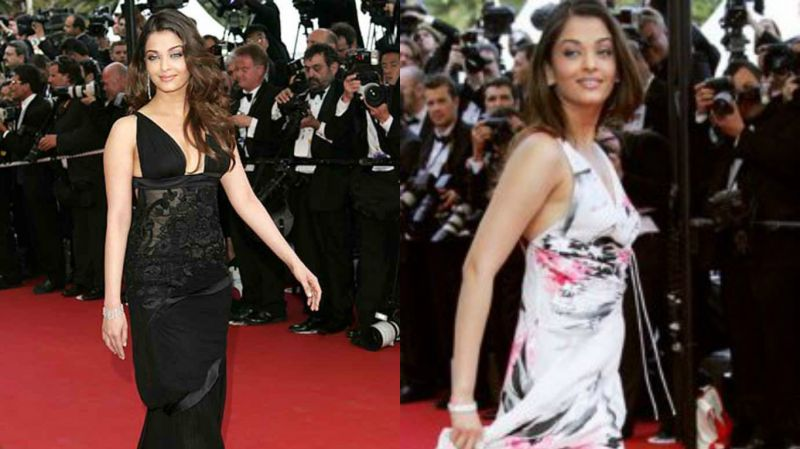 Cannes 2005: The actress wore a printed dress by Gorgio Armani and a black Gucci number and both the outfits were appreciated.