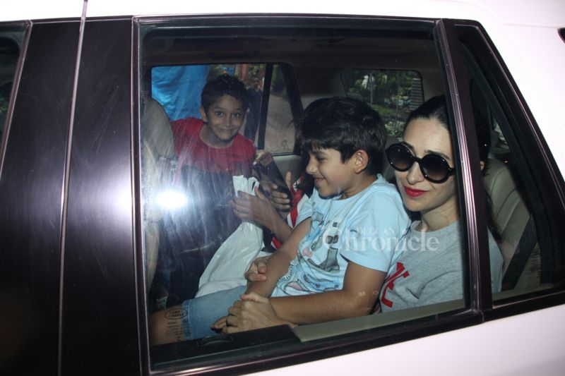 It was family time for Karishma Kapoor and her kids-- Samiera and Kiaan.