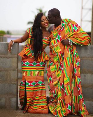 The wedding dresses in Ghana are known for their bright eye-catching prints.