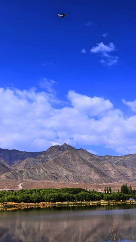 A flight takes off from Leh Airport