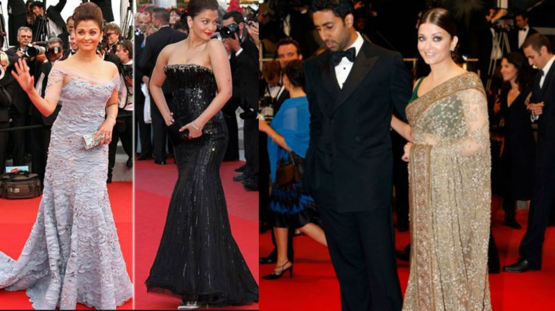Cannes 2010: Aishwarya was dressed in a violet off-shoulder gown by Elie Saab on day one, a black strapless gown by Armani Prive the next day and sequined gold Sabyasachi saree on the third day.