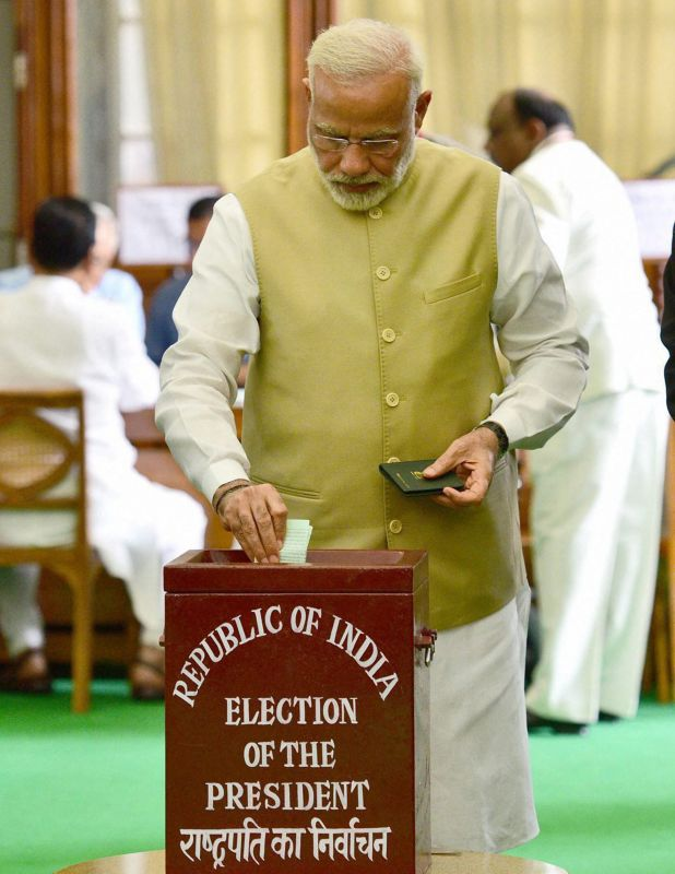 Presidential poll: Prime Minister Narendra Modi casts his vote. (Photo: PTI   Twitter)