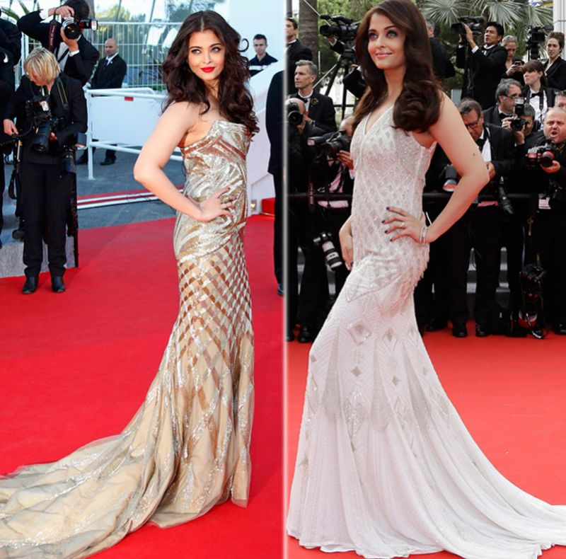 Cannes 2014: Aishwarya's gold strapless body-hugging gown by Roberto Cavalli and the white simmering mermaid gown by the same designer was a hit with the masses.