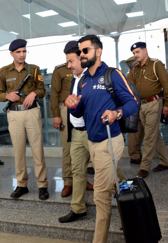 Virat Kohli arrives at the Kangra Airport in Dharamshala, ahead of the fourth Test between India and Australia. (Photo: PTI)