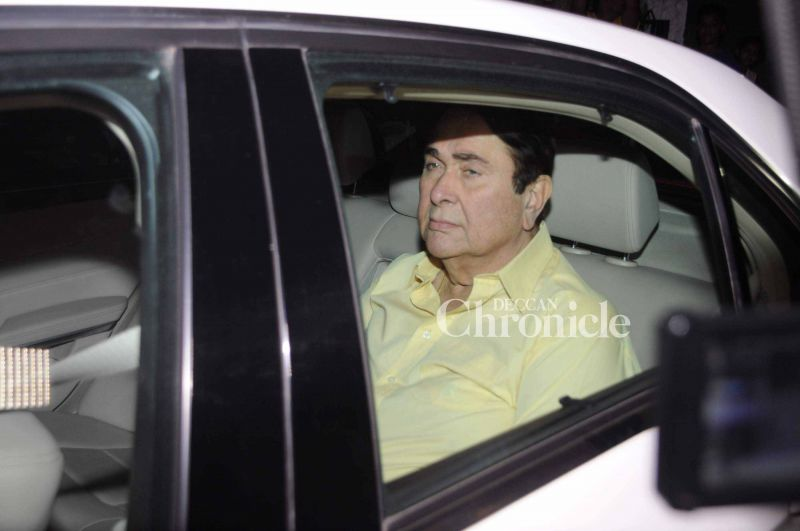 Randhir Kapoor was also snapped in his car.