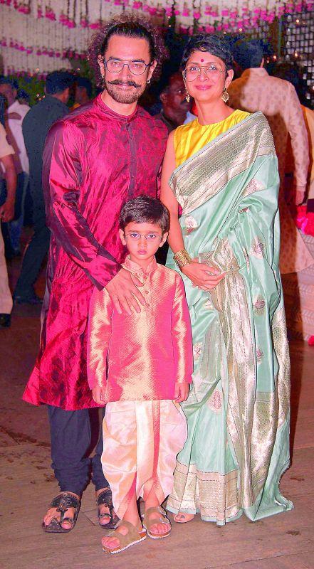Aamir Khan with wife Kiran Rao and son Azad