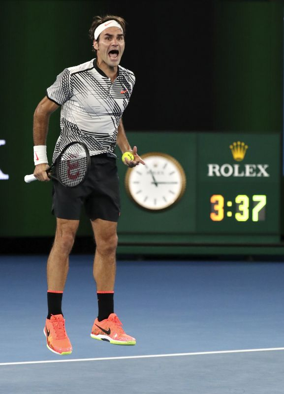 That moment when Roger Federer finally made it 18. (Photo: AP)