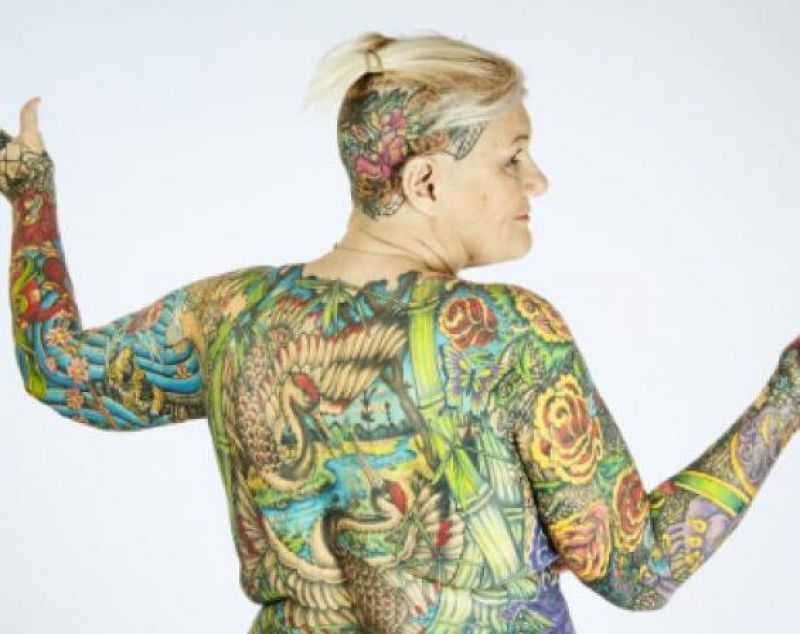 67-year-old Charlotte Guttenberg, a writer, personal trainer and life coach from Florida, had 91.5 per cent of her body covered in elaborate designs and colour to set a Guinness World Record for the Most tattooed female senior citizen (Photo: YouTube)