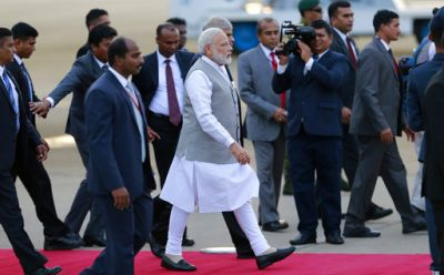 Sri Lankan Prime Minister Ranil Wickremesinghe and several senior ministers, including Foreign Minister Mangala Samaraweera, were at the Colombo International Airport to receive the Indian Prime Minister.