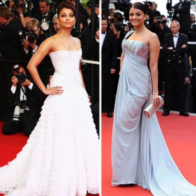 Cannes 2009: Aishwarya sizzled on the red carpet wearing a white strapless gown by Roberto Cavalli and an off-shoulder teal Elie Saab gown.