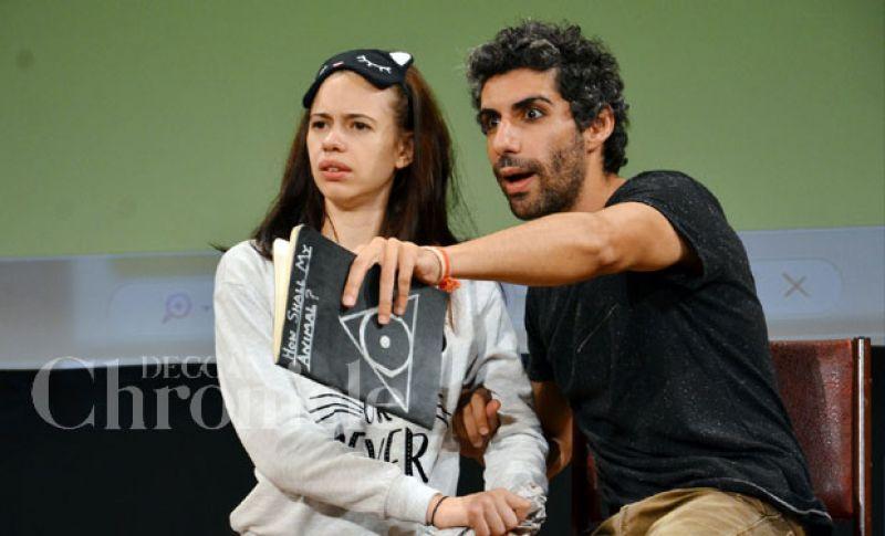 Kalki Koechlin and Jim Sarbh during a play.