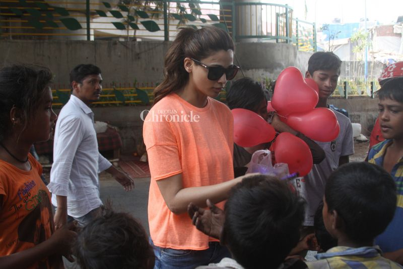 Daisy Shah was seen celebrating Valentine's Day with children.