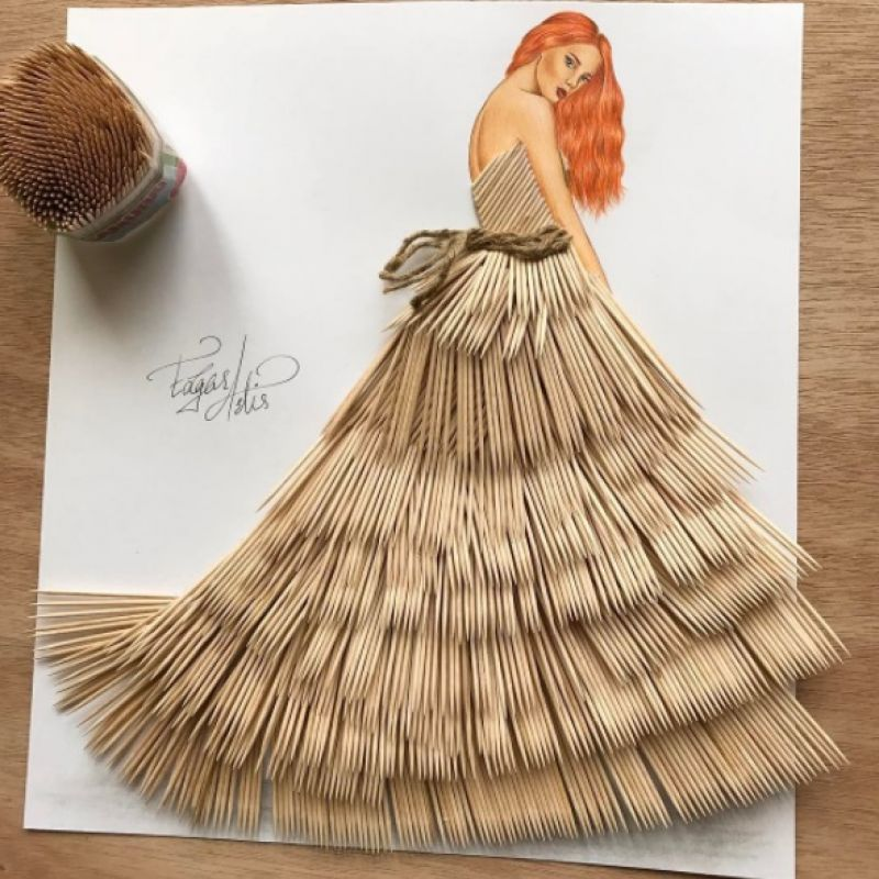 This masterpiece has been made with over 700 toothpicks and this sketch definitely looks fabulous.