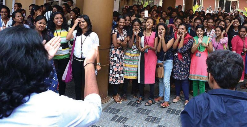 Students of St.Teresa's  College in Kochi boo off boy students from the neighbouring Law College who visited them on the Valentine's Day on Tuesday. (Photo: DC)