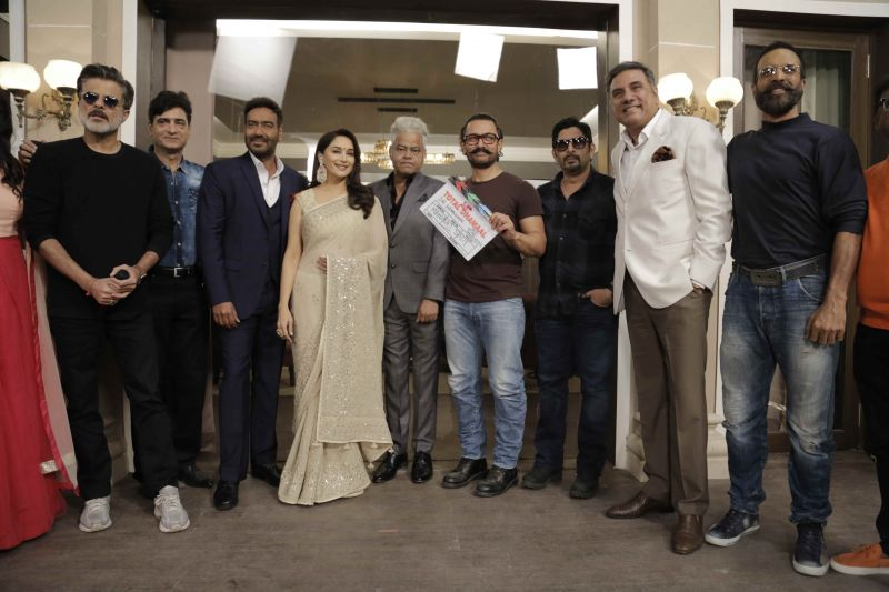 Reliving '90s Aamir joins Ajay Madhuri Anil as they kick off Total Dhaamal shoot