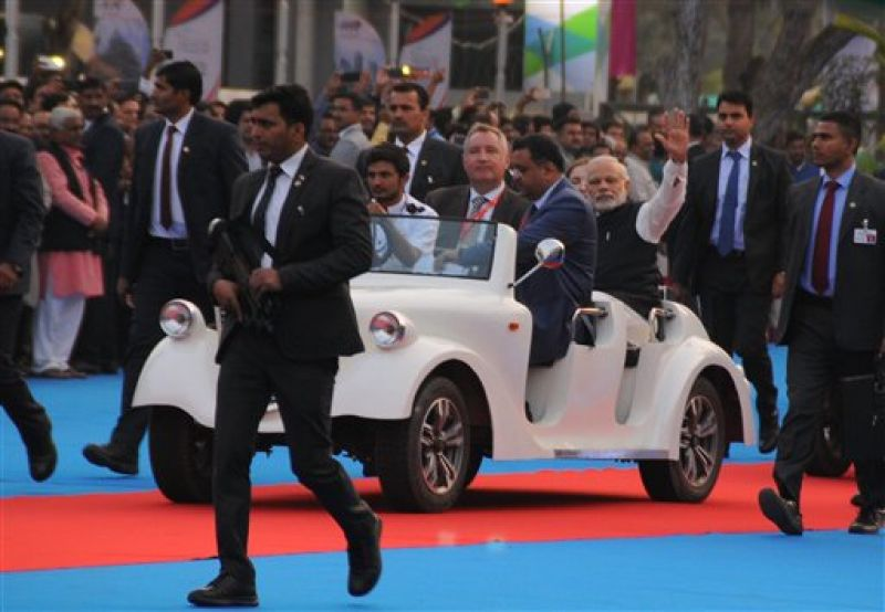 Prime Minister Narendra Modi and Gujarat Chief Minister Vijay Rupani inaugurated Global Trade Show 2017 at Exhibition Ground and Visit with Battery Car in Gandhinagar 9 January 2017, Ahead of the opening of the four-day 'Vibrant Summit' on January 10 at Mahatma Mandir in Gandhinagar. (Photo: PTI)