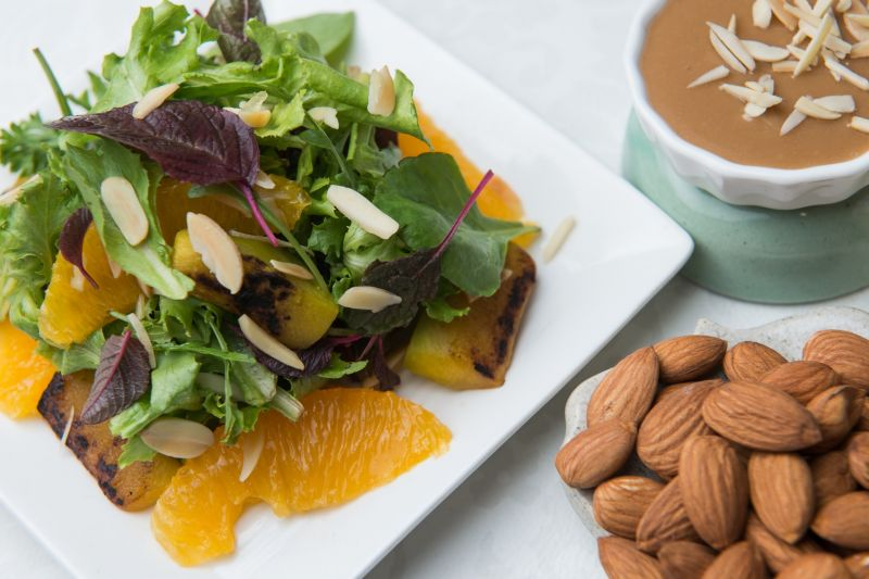 Almond, oranges and Roast Pumpkin salad