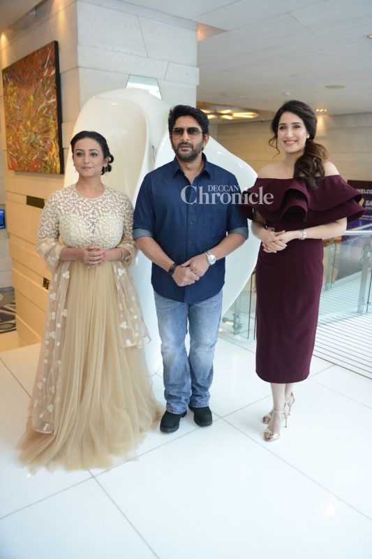 Divya Dutta, Arshad Warsi and Sagarika Ghatge were seen during the promotions of their film 'Irada'.