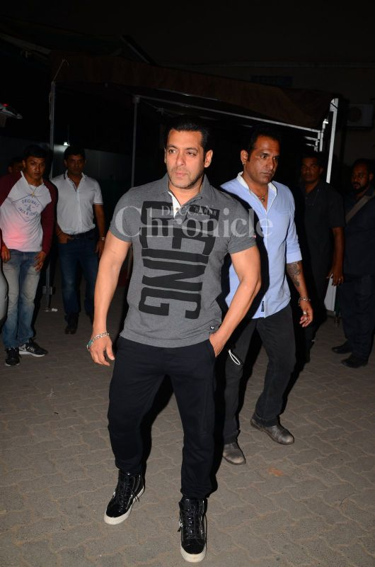 Salman Khan looked dapper as he flaunted his Being Human t-shirt.