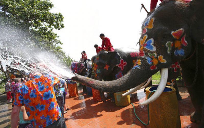 Tourists celebrate Buddhist New Year in Thailand