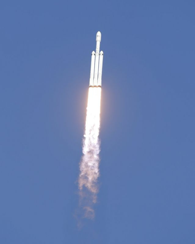 A SpaceX's Falcon Heavy rocket lifts off from launch Pad 39A, for the maiden demonstration test flight at the Kennedy Space Center. The big rocket is made up of three rocket boosters that will produce more thrust than any other rocket now flying.
