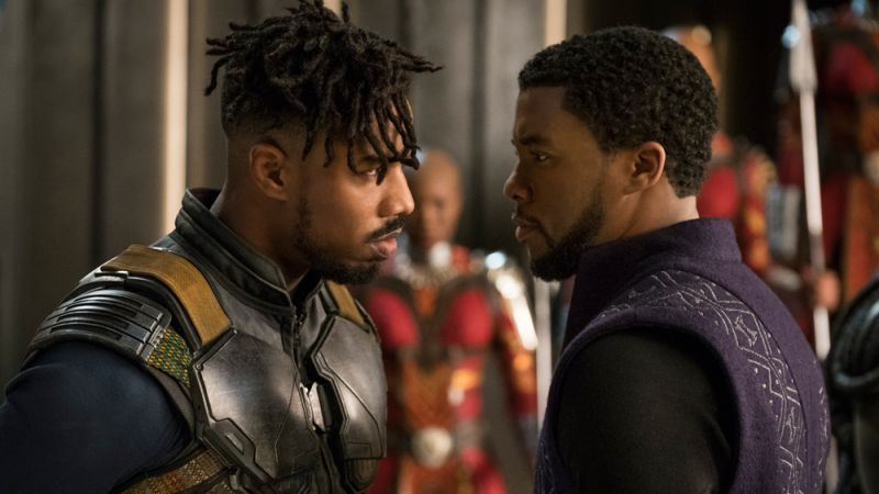 Chadwick Boseman and Michael B. Jordan in the still from 'Black Panther'.