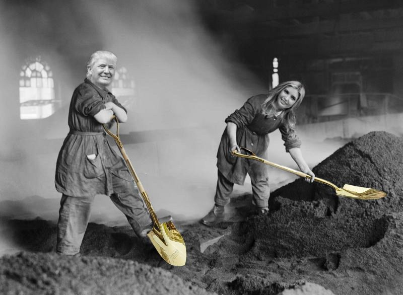 Busy doing some hard work with gold shovels which is the most unlikely situation.