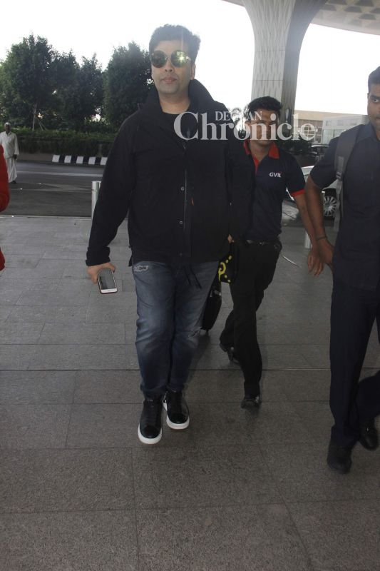 Karan Johar was spotted arriving at the airport.