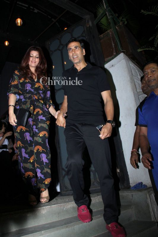 Akshay Kumar and Twinkle Khanna were snapped together in Bandra.