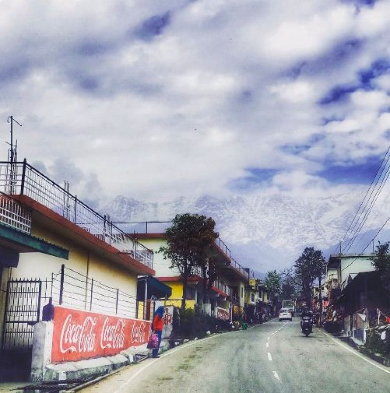 """""""This is the scene as we drive from the airport to the ground! Snow clad Dhauladhar range,"""" Tweeted Team India fielding coach R Sridhar. (Photo: R Sridhar/ Twitter)"""