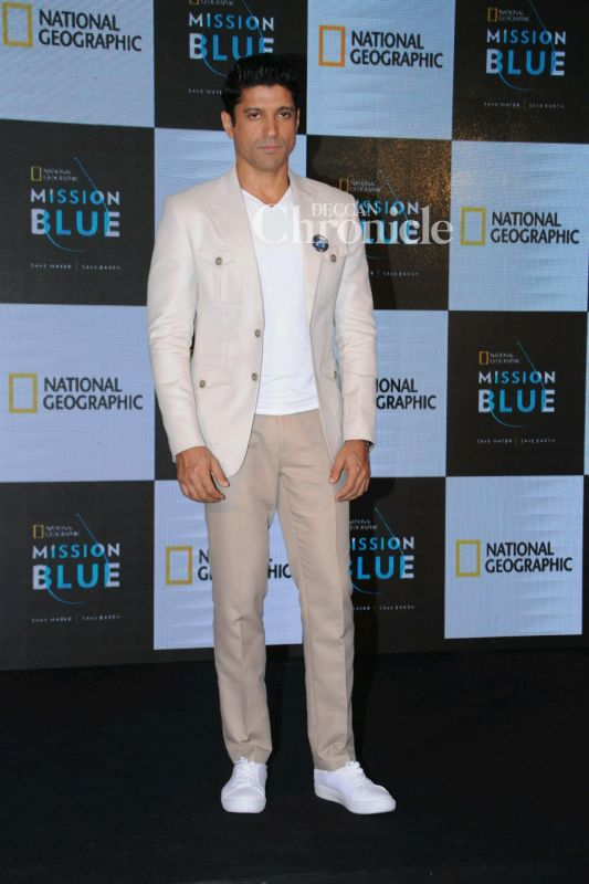 Farhan Akhtar was snapped at the launch of his television show.
