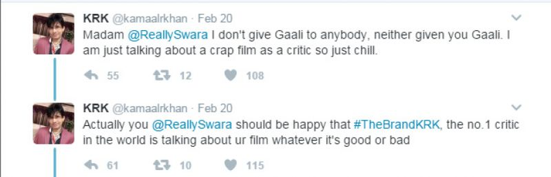 Kamaal Rashid Khan calls Swara Bhaskar's film a 'disaster', her reply is epic