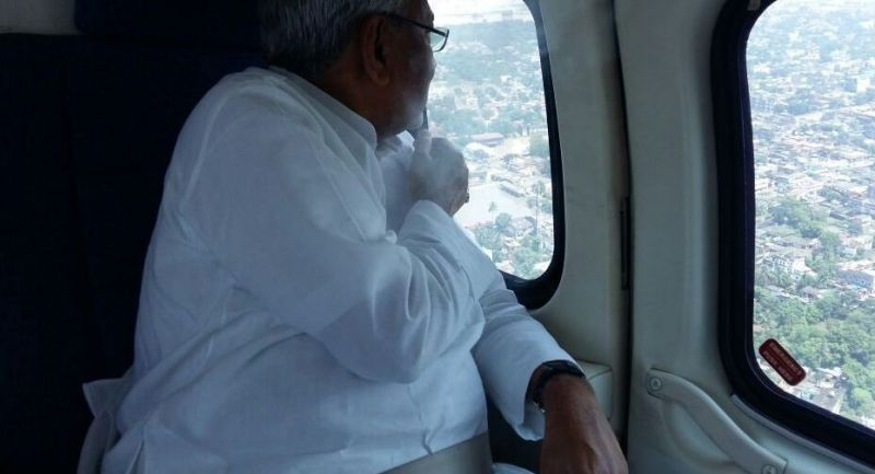Bihar Chief Minister Nitish Kumar conducts aerial survey of flood affected areas